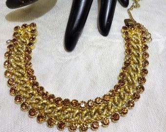 Vintage Hattie Carnegie Gold Chain and Topaz Rhinestone Bracelet