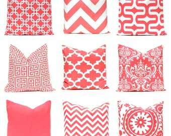 Euro Pillow Covers - Coral Euro Shams - Coral Pillow Covers - Throw Pillow Covers - 24 x 24 - Sofa Pillow - Chevron Pillow - Coral Cushion