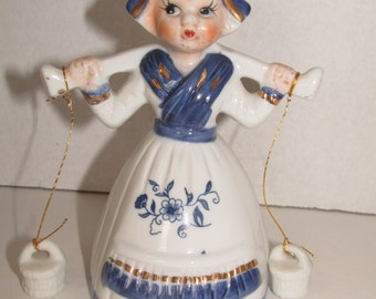 Vintage Genuine Porcelain Lady Bell Taiwan Milk Maid Blue and White