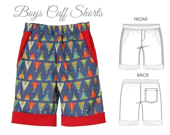 Boys SHORTS pattern pdf, boys pattern, girls shorts pattern, boys sewing pattern pdf, cargo shorts pattern, CUFF SHORTS