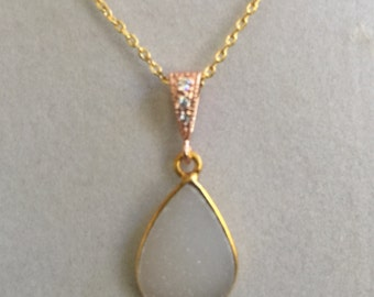 White Druzy and Gold Necklace