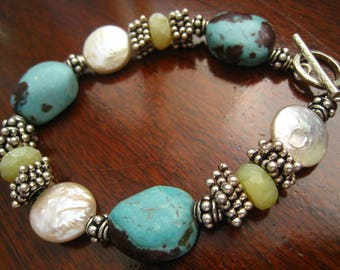 SALE Sterling, Turquoise Nuggets, Freshwater AB Pearls & Stone Bracelet.  Unsigned Artisan Piece.  Chunky, Rich Looking Southwestern Boho.