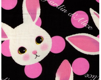 HALF YARD  - Alice in Wonderland - Petit Lapin on Black with Pink Dots - Japanese Import