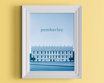 Pemberley Duotone Poster | A Pride and Prejudice Inspired Literary Print For Jane Austen Fans