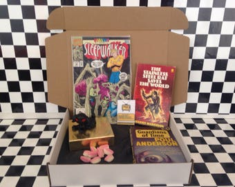 Vintage box of sci-fi - books, treats, sweets & more