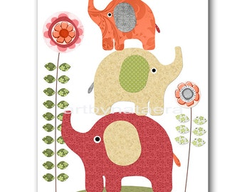 Elephant Baby Girl Nursery Art Digital Wall Art Baby Room Decor Children room Decor Digital Decor Digital Print 8x10 11X14 INSTANT DOWNLOAD