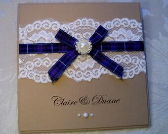 Tartan Wedding Invitation. Craft Card Wedding Invitation. Tartan and Pearl invitation.