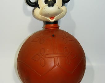 Vintage Mickey Mouse Hippity Hoppity Ball 1960's-1970's - Works Great - Disney Toy