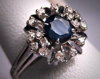 Antique Sapphire Diamond Wedding Ring Vintage Art Deco 18K