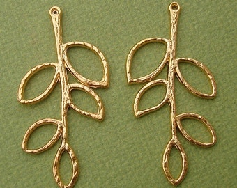 Twig Branch Leaf Charm Pendant Connector Gold Plated- 2pcs.