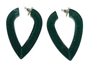 Vintages 80s-90s XL Dark Green Plastic Glitter V Shaped Hoops Costume Jewelry Earrings