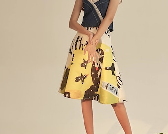 Fine Art Collection jeans top with floral hem/yellow sketch painting cute skirt