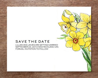Printable Save the Date Card - Save the Date Template - Instant Download - Save the Date PDF - Daffodil Save the Date - Yellow Daffodil PDF