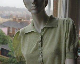 Pale green organic cotton fine knit collared short sleeve sweater Edina Ronay L