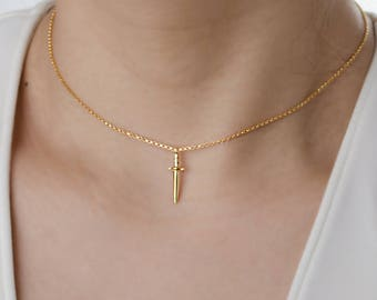 Simple Choker Necklace, Dainty Dagger Charm Necklace, Chain Necklace, Sterling Silver, Gold Plated, Gift for Mom , Lunaijewelry, NCK105