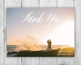 Calligraphy Custom Photo Thank You Card, Digital Design, Elegant Simple Printable Thank You Card
