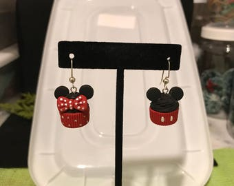 Mickey Mouse Cupcake and Minnie Mouse Cupcake Earrings Polymer Clay Earrings