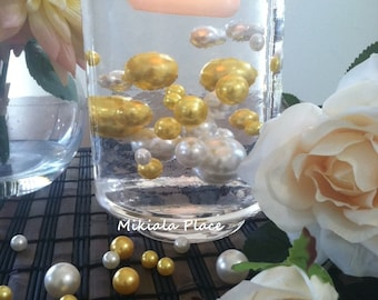 Golden Anniversary Elegant Floating Jumbo Pearls Ivory/Gold Yellow Vase Fillers/Wedding Centerpiece, Table Confetti, Scatters
