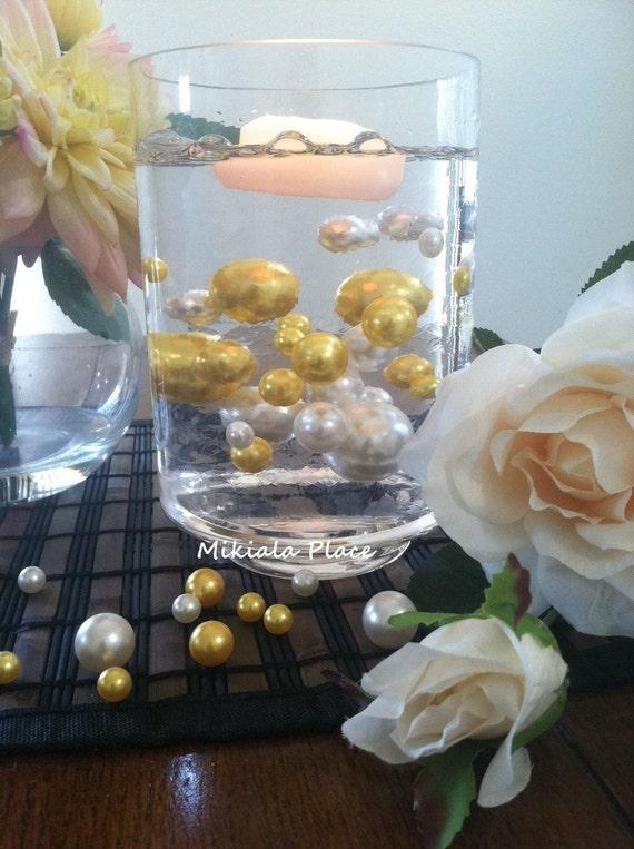 Golden Anniversary Elegant Floating Jumbo Pearls Ivorygold