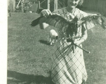 1950s Girl Holding Hawk Bird of Prey Hunting Game Bird Wings Spread 50s Vintage Photograph Black White Photo