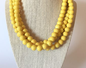 Yellow Chunky Statement Necklace
