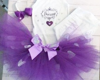 Four piece tutu set, purple tutu with glitter hearts Top and shorts white Garanimals 12 month tutu set White and purple tutu set Photo Prop