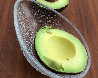 3 French glass vintage avocado desert dish
