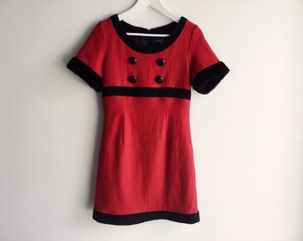 Retro style red and black mini dress