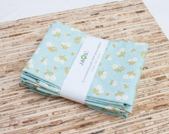 Large Cloth Napkins - Set of 4 - (N1388) - Aqua Flowers  Modern Reusable Fabric Napkins