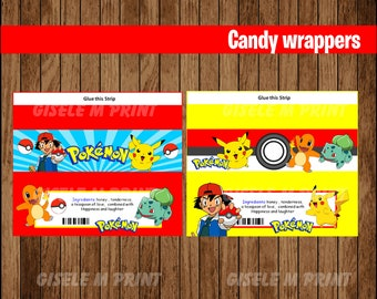 Pokemon candy wrappers, Printable Pokemon wrappers, Pokemon party Candy wrappers instant download