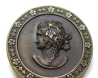 "Antique Goddess button. Victorian mythological button, BACCHANTE. 1 1/2""."