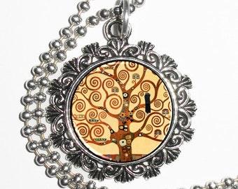 Vintage Tree of Life Resin Pendant, Gustav Klimt Art, Photo Charm Necklace