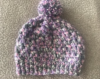 Purple and Pink Slouchy Beanie