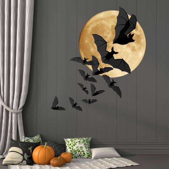 Amazing Bats And Moon Halloween Wall Decor Full Moon And A Colony Of