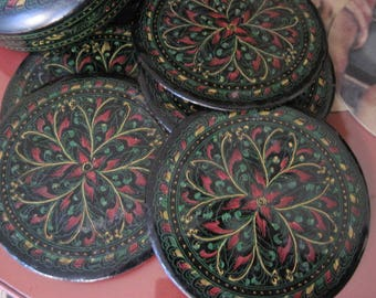 Vintage Etched Black Lacquer 5 Coaster Set in Box