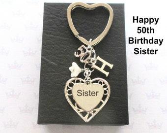 Sister 50th birthday gift - 50th keychain - Sister gift - Personalised 50th keyring - Personalised sister keyring - Sister keychain - UK