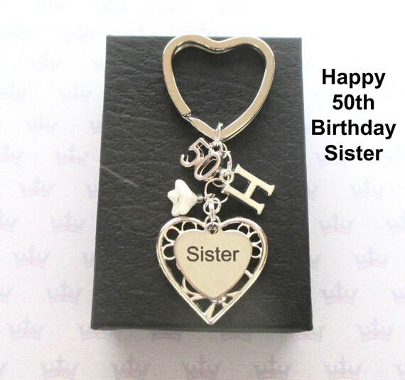 Sister 50th Birthday Gift 50th Keychain Sister Gift