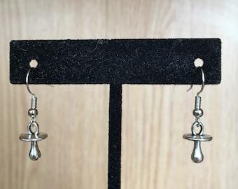 Silver Baby Binky Earrings