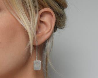 Silver Drop Earrings -  Long Silver Earrings - Geometric Drop Earrings - Square Drop Earrings - Brushed Silver Earrings