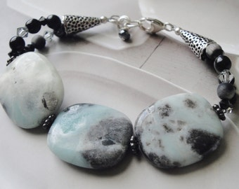 Sterling Silver, Amazonite Gemstone Bracelet, One Of A Kind, Gift For Her