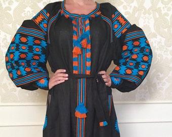 Black Maxi Dress Boho Dress Embroidered Dress Boho Style
