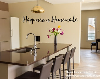 Happiness Is Homemade Kitchen Wall Decal / Kitchen Decor / Kitchen Decals /  Kitchen Stickers / Kitchen Quotes Wall Decals / Vinyl Wall Art