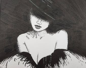 Original Lady in Black Ink Drawing