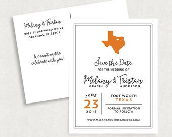 Texas Save the Date Postcards, Destination Save the Date Postcards, State Save the Date Postcards, Printable State Save the Date Postcards