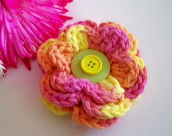 Crochet Flower Applique or Pin  Your Choice