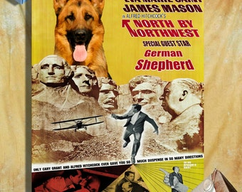 North By Northwest German Shepherd Movie Art Poster Dog Painting Alfred Hitchcock Poster Custom Dog Portrait from Photo 1950s Movie Poster
