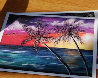 Caribbean Sunset Flat Note Card