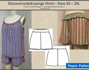 Jogger Lounge Short -  Ladies Sizes, Women's Sizes XS, S, M, L, XL, 2XL - Paper Printed Sewing Pattern, Easy Sewing Pattern, Knit Short,