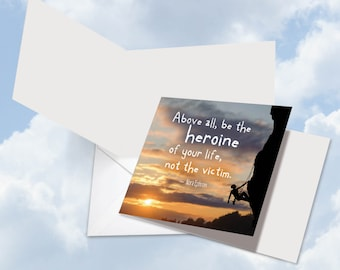 CQ4625IOCB New Square-Top All Occasions Card: Women Power Quotes Ephron  Ft. an Inspirational Quote by Nora Ephron w/ Env.
