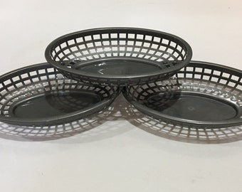 Grey Pewter Color Food Baskets, Food Tray, Party Food Baskets, Use for Party, Picnic, BBQ, Events